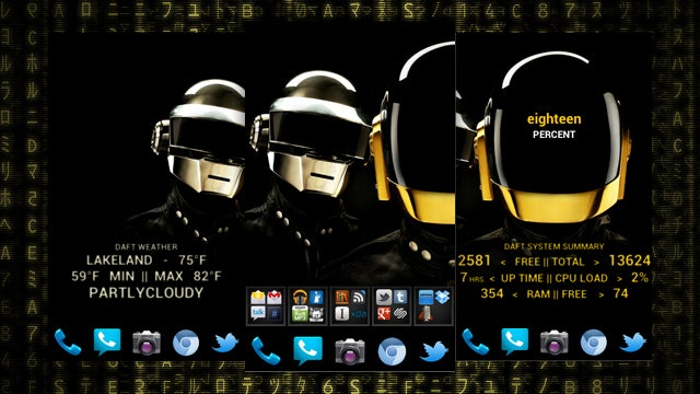 The Daft 3-Panel Home Screen
