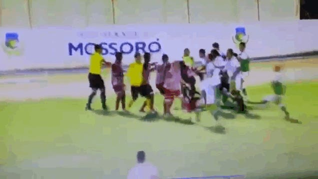Brazilian Soccer Match Devolves Into Flying-Kickpalooza