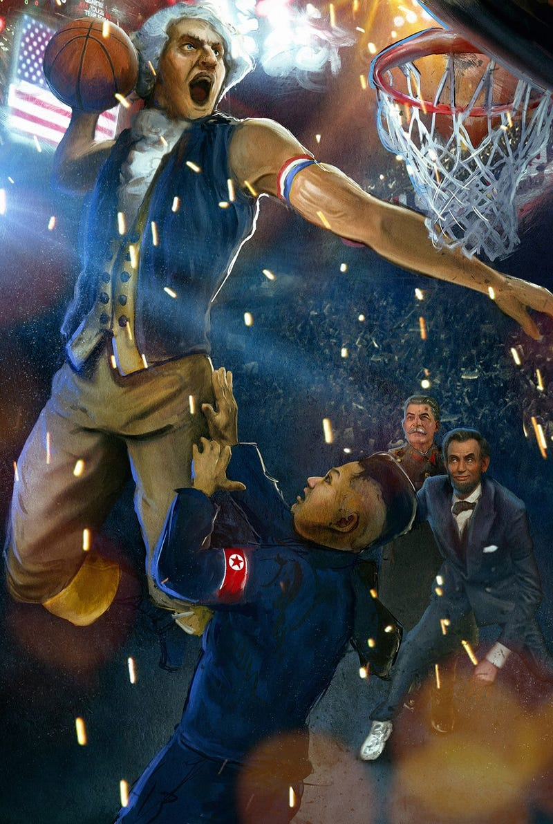 This Is A Painting Of George Washington Dunking On Kim Jong-un