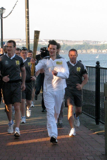 Matt Smith carries the Olympic Torch, but not as the Doctor