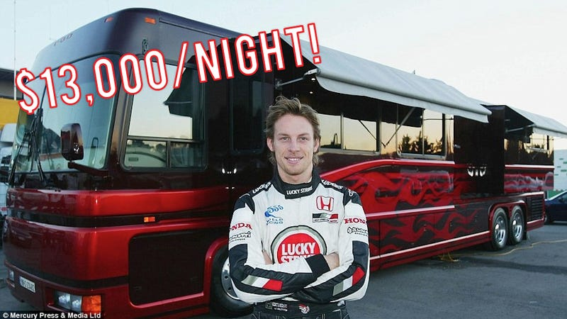 Rent Jenson Button's luxury F1 motorhome palace for only $13,000/night