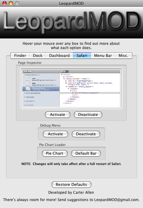 LeopardMOD Edits Hidden OS X Settings