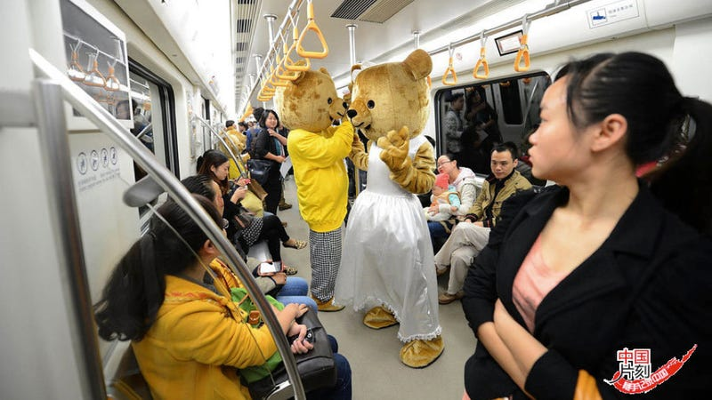 There are Giant Teddy Bears Riding the Subway. They Seem Friendly.