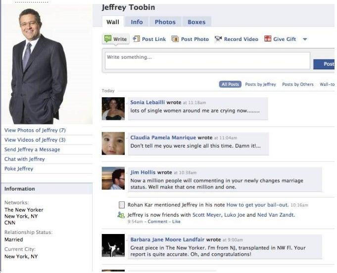 Jeff Toobin Updates Status to 'Married'