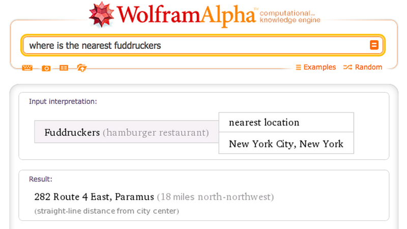 Wolfram Alpha Can Tell You Where to Eat Now