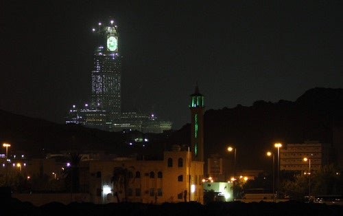 World's biggest clock under construction in Mecca