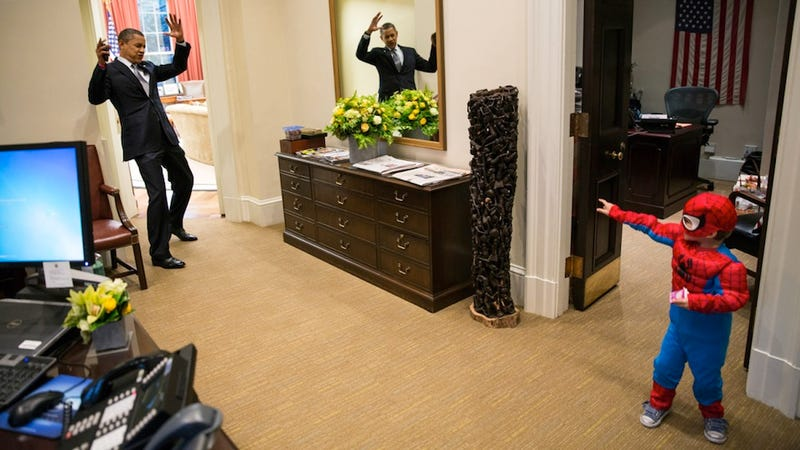 This Photo of President Obama Pretending to Be Caught in Spider-Man's Web is Reason Enough to Name Him 'Person of the Year'