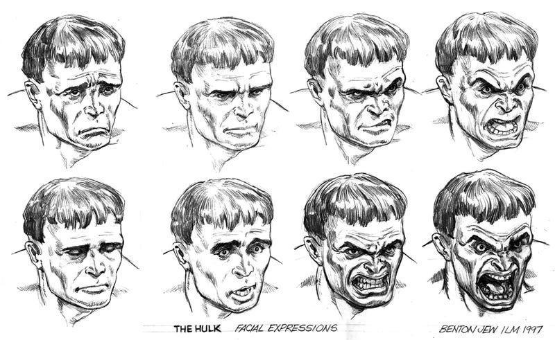 Concept art for the Hulk-vs.-Insect-Men movie that never was and Billy Crudup as the green guy