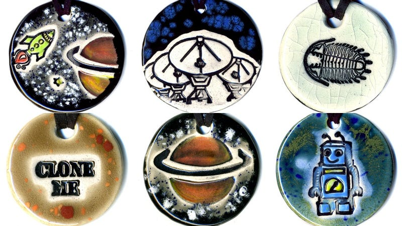 Geeky ceramic jewelry for people who love science and skepticism