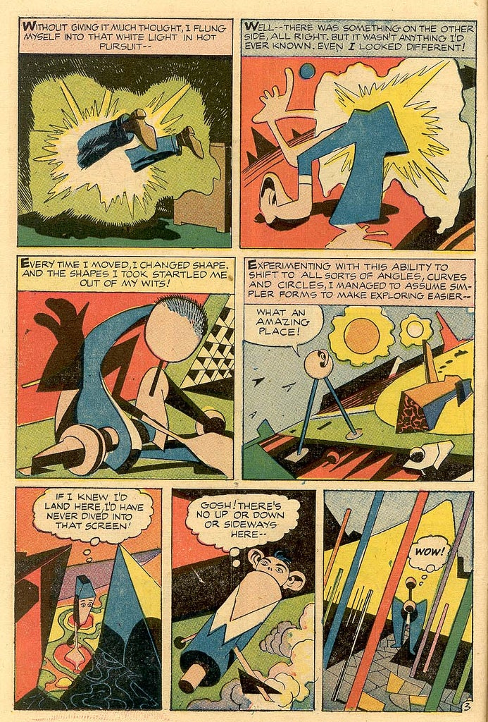 Insane Jack Kirby comic begins with a trip to the fourth dimension, ends in a wedding