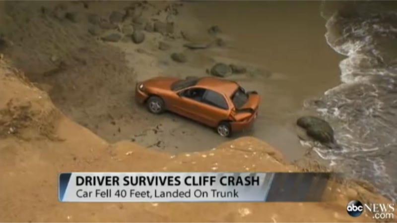 Man Survives 40-Foot Drive Off Cliff, Chevy Cavalier Does Not