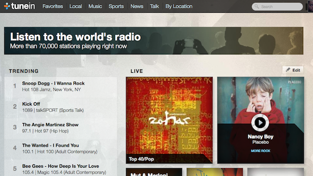 TuneIn Live Connects You With Music You'll Love, from All Around the World