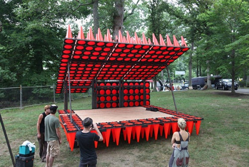 Stolen Traffic Cones Come Together To Form Hedgehog-Like Concert Pavilion