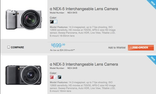 Sony NEX-3 and NEX-5 Cameras Available For Pre-Order, Starting at $550