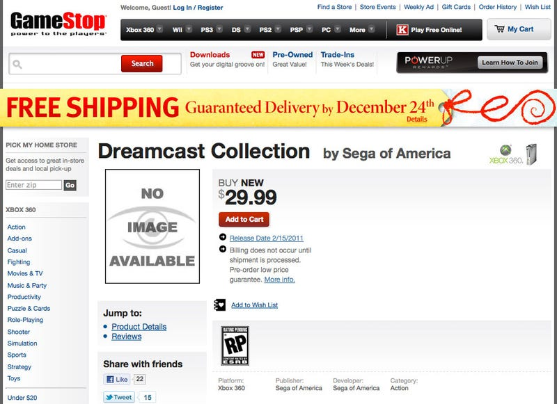 There's A Dreamcast Collection Coming To Xbox 360, Says GameStop