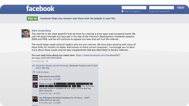 Mark Zuckerberg Finally Comes Out Against SOPA