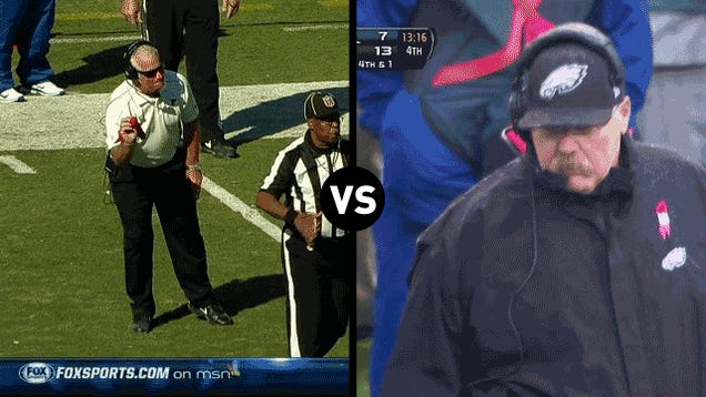 Who Has The Funniest Challenge-Flag-Throwing Motion, Andy Reid Or Mike Smith?