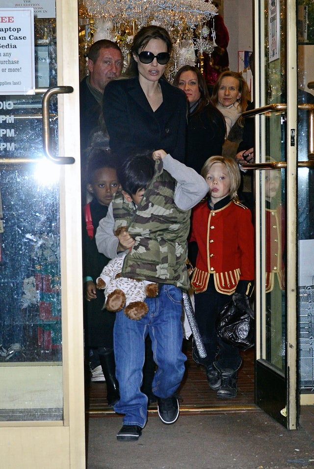 Angelina Gets Her Little Soldiers In Line