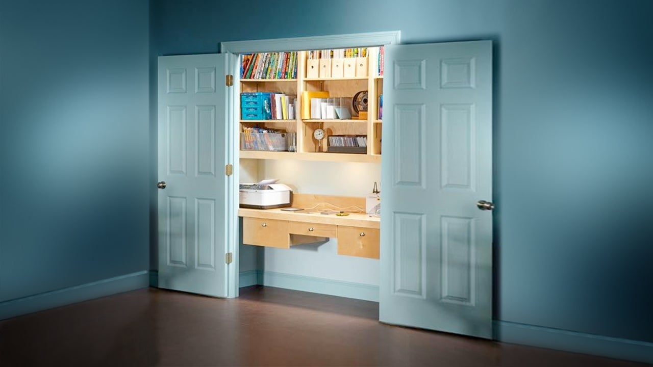 How to turn a spare closet into a home office for Transform small closet space
