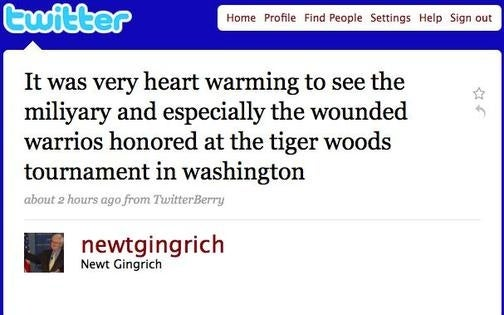 Newt Gingrich Could Really Use an 'Edit' Feature on Twitter