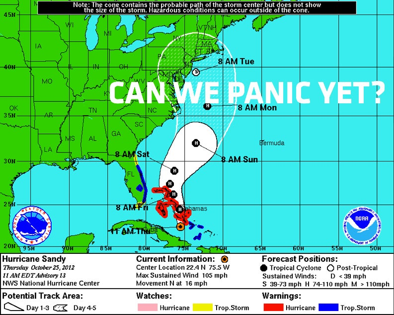 Snor'eastercane Sandy Now Forecast To Slam Into The East Coast