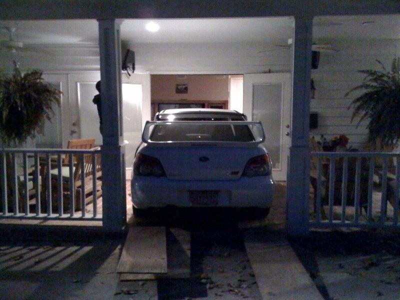 Subaru Fan-Boys Drive Impreza Into Living Room To Watch TV Up-Close