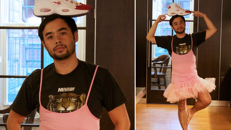 Here Is a Picture of a Gawker Writer Wearing a Tutu with a Shoe on His Head