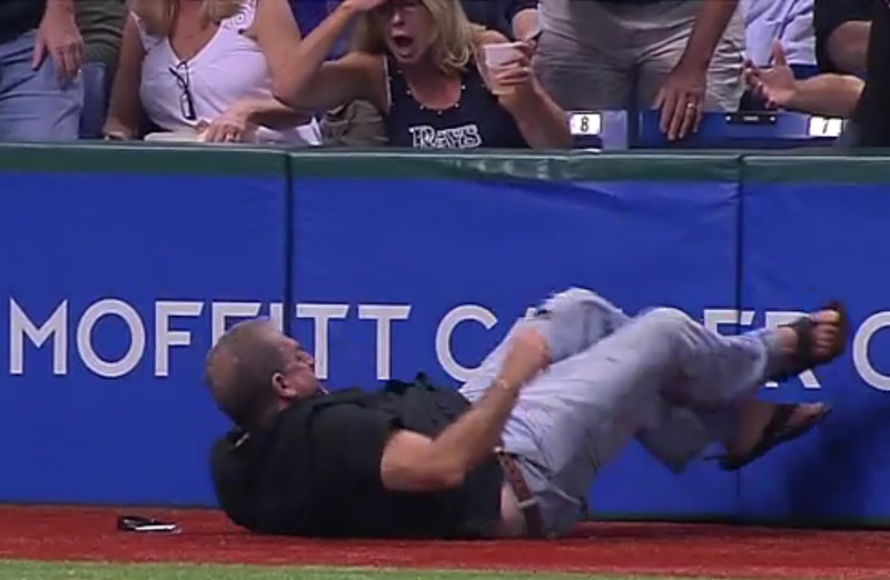 Acrobatic Rays Fan Does Header Onto The Field, But Gets The Foul Ball