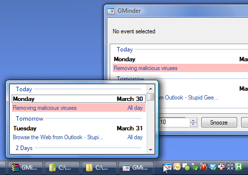 GMinder Puts Google Calendar in Your System Tray