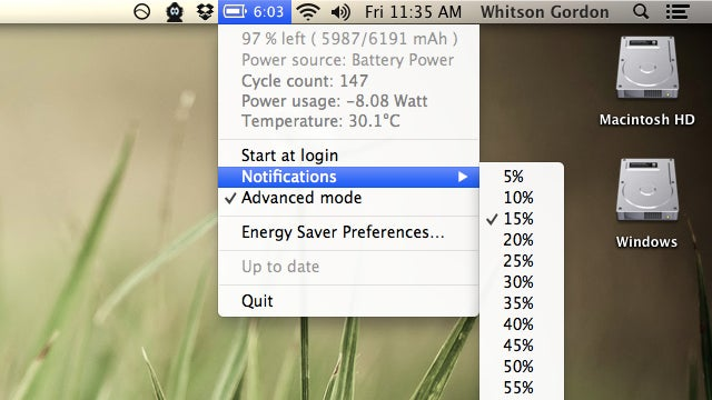 Battery Time Remaining Brings More Battery Info to Mountain Lion's Menu Bar