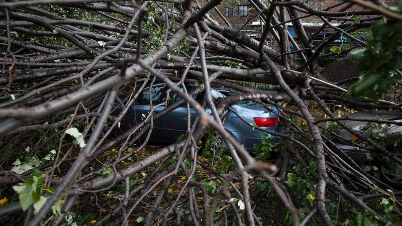 Crushed Hyundai in Manhattan's Lower East Side