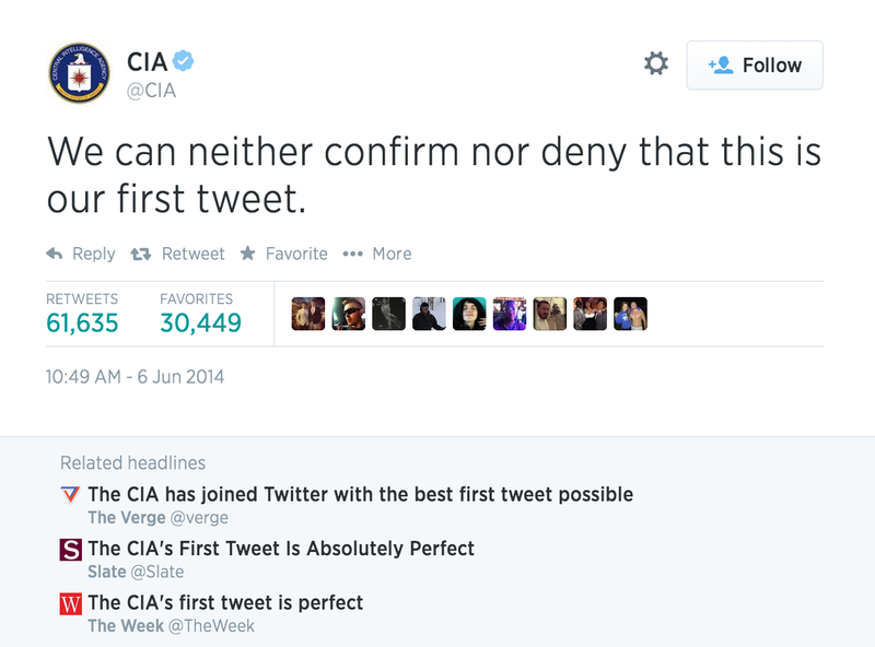 Look at These Dumb Motherfuckers Fawning Over the CIA's First Tweet