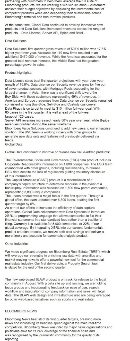 Bloomberg Internal Q1 2009 Memo