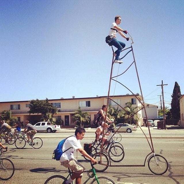 Get a Terrifying, First-Hand Look at What It's Like to Ride a 15-Foot-Tall Bike