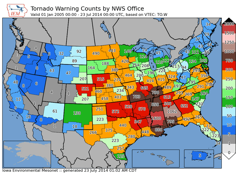 Here Are Maps of All 38,728 Tornado Warnings Issued Since 2002