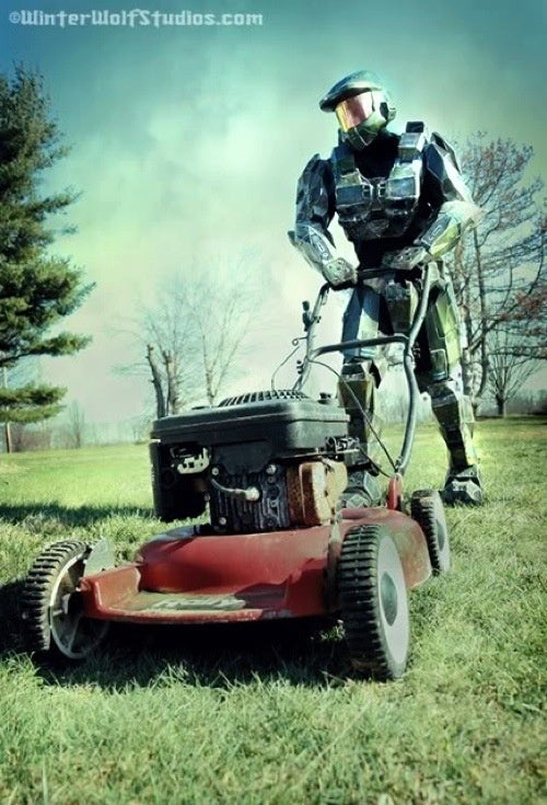 Even Master Chief Mows The Yard