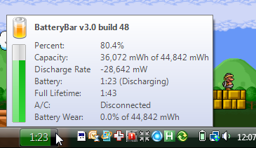 BatteryBar Adds a Power Meter to the Taskbar