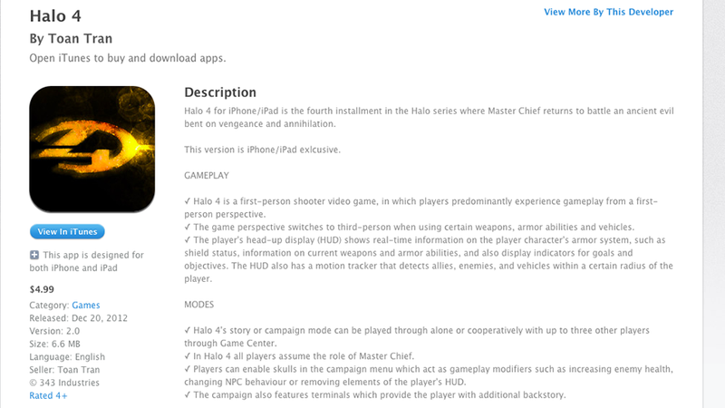 "Apple Let a Hilariously Fake ""Halo 4"" into the App Store"