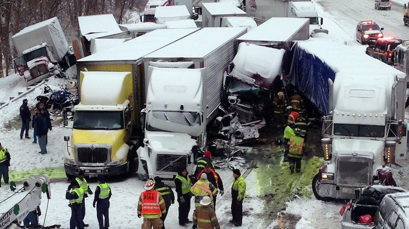 Three Dead as 46 Cars Crash in Horrific Snowy Pileup