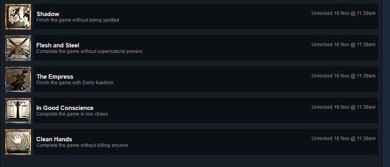 dishonored 2 achievements not unlocking
