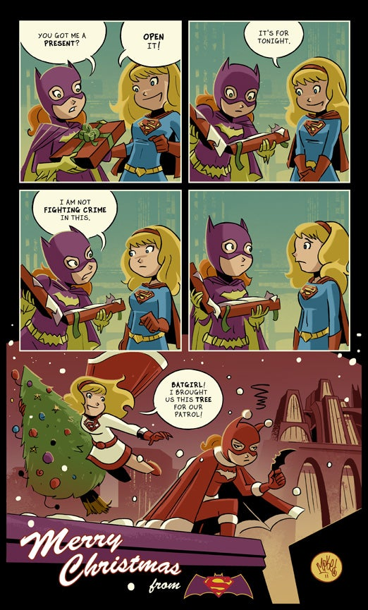 Supergirl & Batgirl Christmas by Mike Maihack