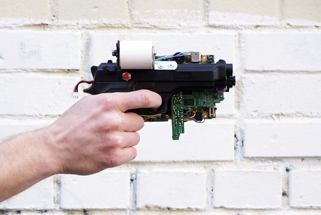 Guy invents an 8-Bit instant camera gun that prints images on receipts