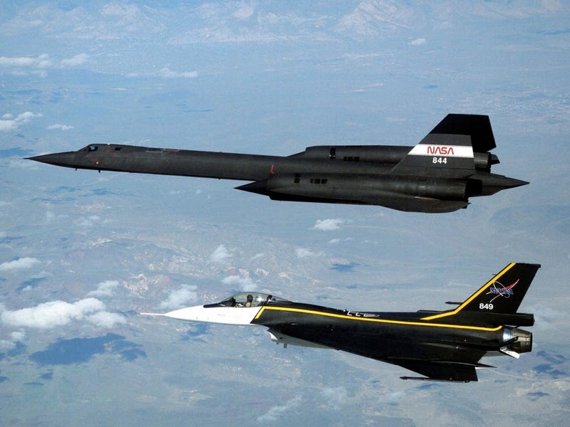 F-16XL alongside an SR-71 Blackbird