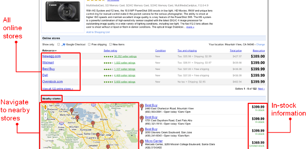 Google Product Search Shows Products in Stock Locally