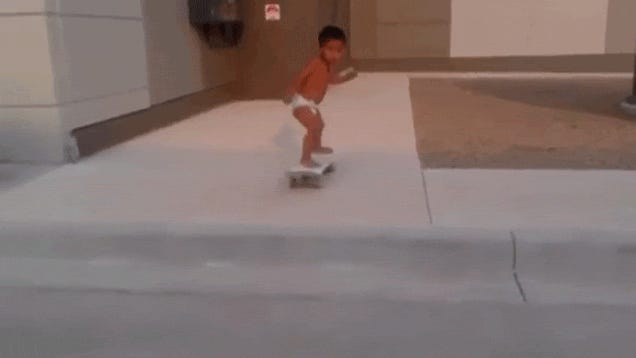 This two-year-old in diapers is ridiculously good at skateboarding