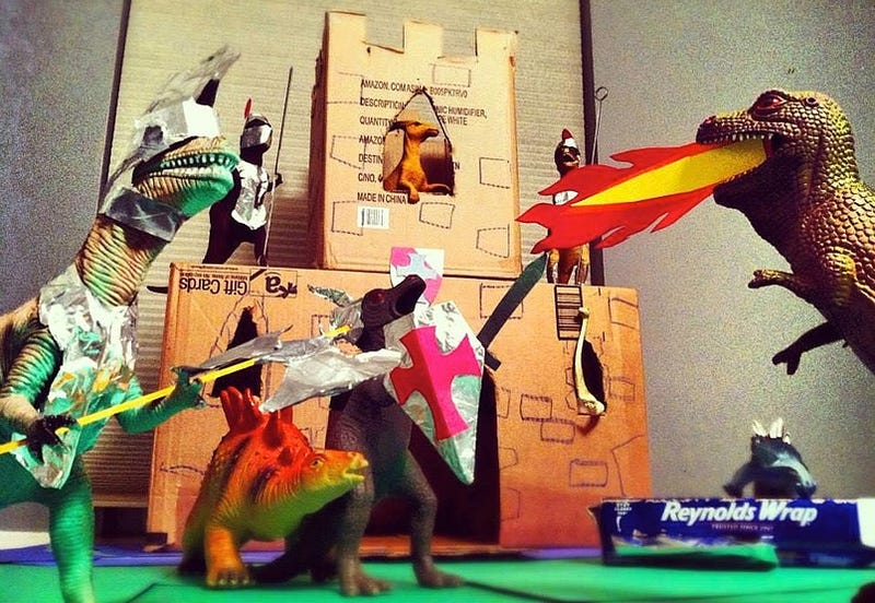 Parents spend November pretending the kids' dinosaur toys come to life
