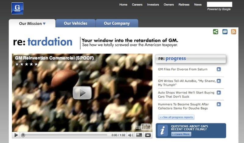 GM Re:tardation Site Parodies GM Ad Campaign, Mocks Carpocalypse