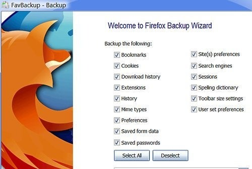 FavBackup Backs Up and Restores Any Browser