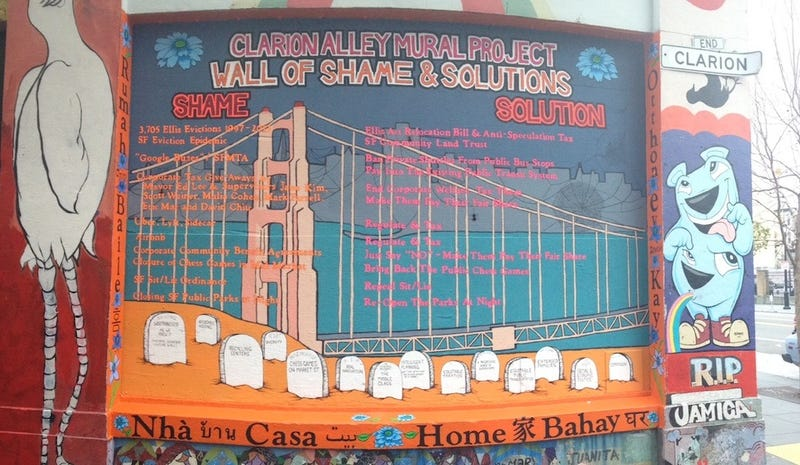 """Mural In the Mission Puts Ed Lee, Uber, and Airbnb On a """"Shame"""" List"""