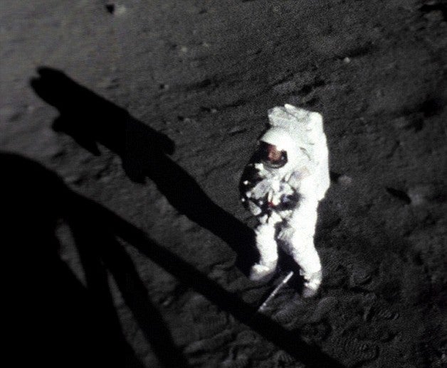Never Before Seen Image of Neil Armstrong's First Moonwalk Shows His face